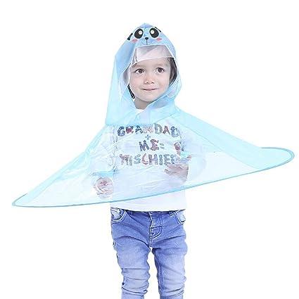 TAOtTAO Adorable Novedad Plegable UFO Chubasquero niños Sombrero Sombrero Paraguas Manos Libres Chubasquero para niños I