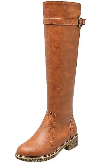 BIGTREE Reitstiefel Damen Casual Herbst Winter Reißverschluss Flach Riemen Bequem Knie Hohe Stiefel von Schwarz 40 EU YhwYy