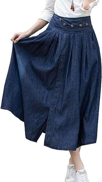 Shengwan Faldas Largas Mujer Cintura Elástica Falda Vaquera Casual ...