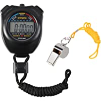 Vicloon Sport Stopwatch,Digital Sport Timer with Stainless Steel Whistle,Large LCD Display Suitable for Football,Basketball, Running,Swimming,Fitness and More