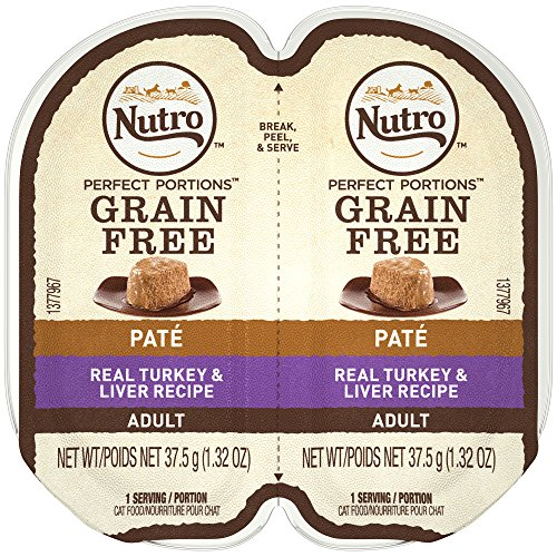 NUTRO PERFECT PORTIONS Pate Real Turkey and Liver Wet Cat Food Tray 2.65 Ounces (24 Twin (Real Turkey)