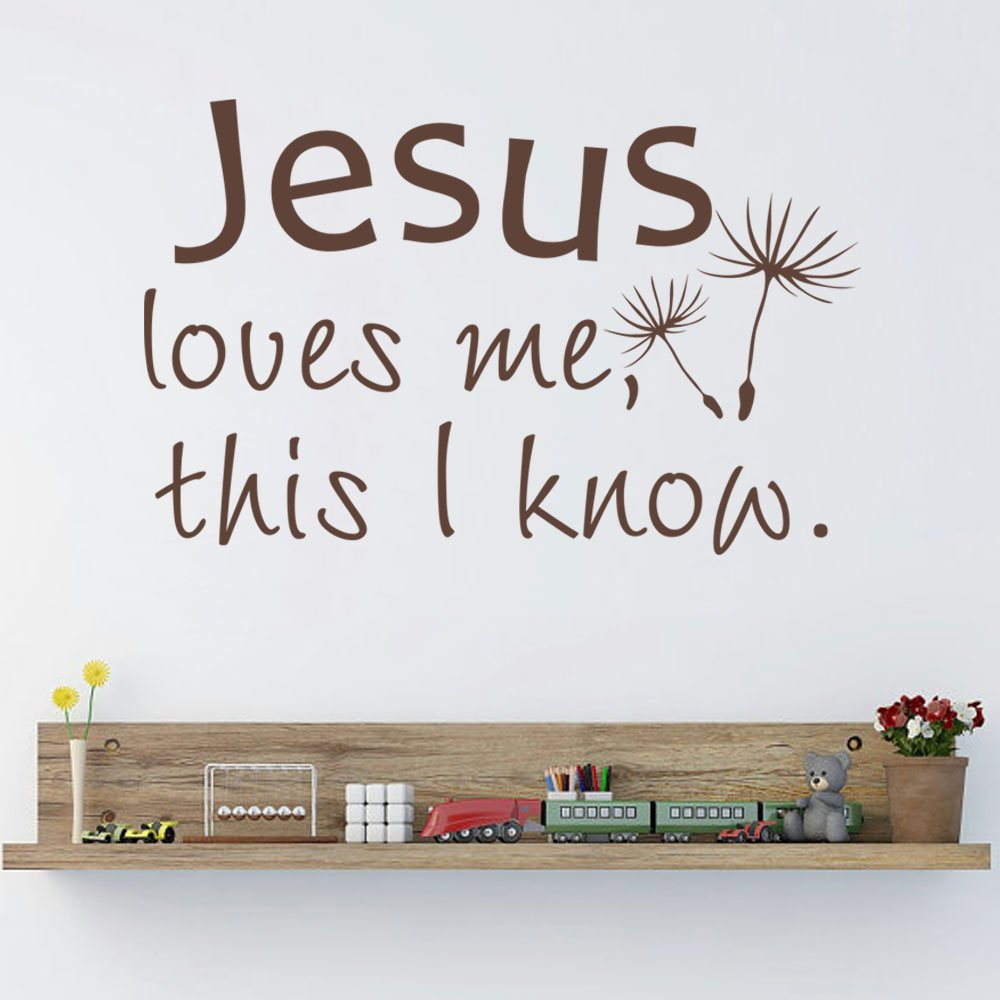 Jesus Loves Me This I Know Bible Verse Vinyl Wall Decal Christian Home Sticker Decor For Nursery Kid Room(Black,l)