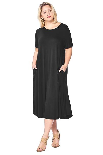 Modern Kiwi Women\'s Plus Size Short Sleeve Flowy A-Line Pocket Midi Maxi  Dress (1X-5X)