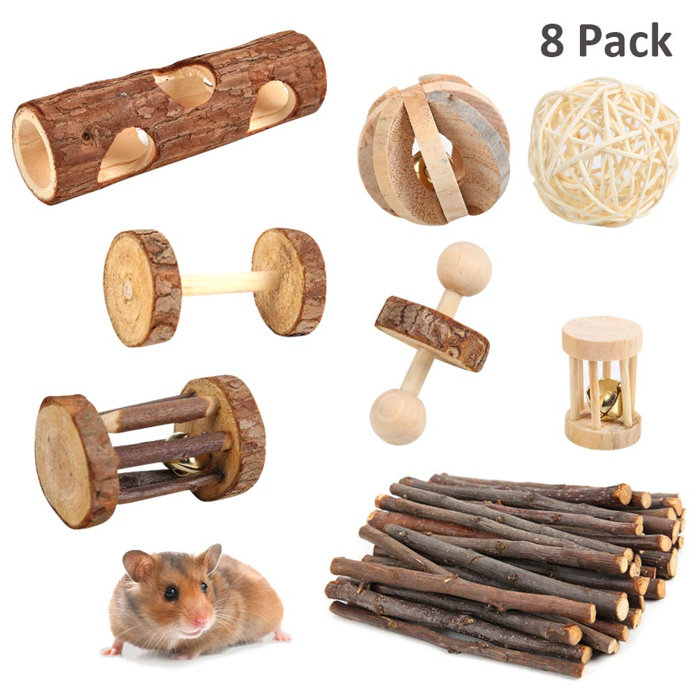 PetBemo Hamster Rat Chews Toys Guinea Pig Accessories Bunny Chew Toys for Bird Rabbits Hamster Gerbil (Pack of 8) by PetBemo (Image #1)