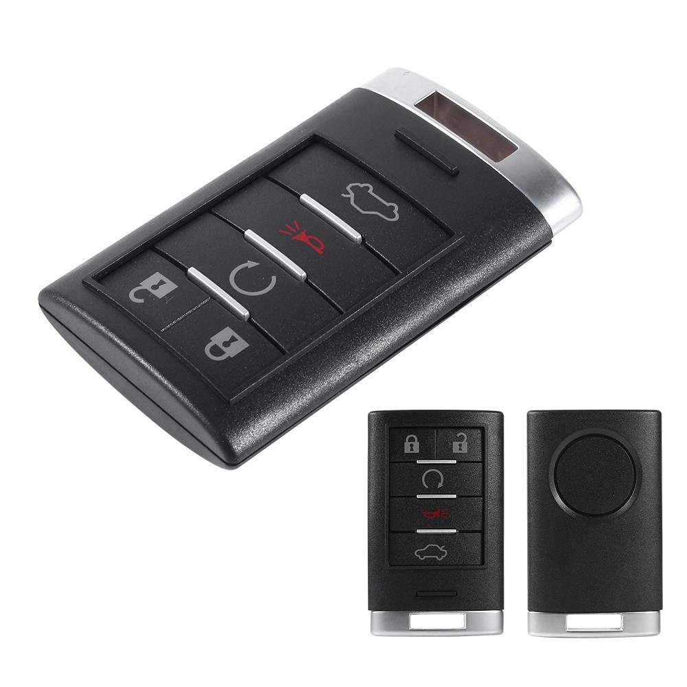 Keyless Entry Remote Control Car Key Fob Replacement for Cadillac DTS 2006-2011 CTS 2008-2014 STS 2005-2011 XTS 2013 5 Buttons Key Fob