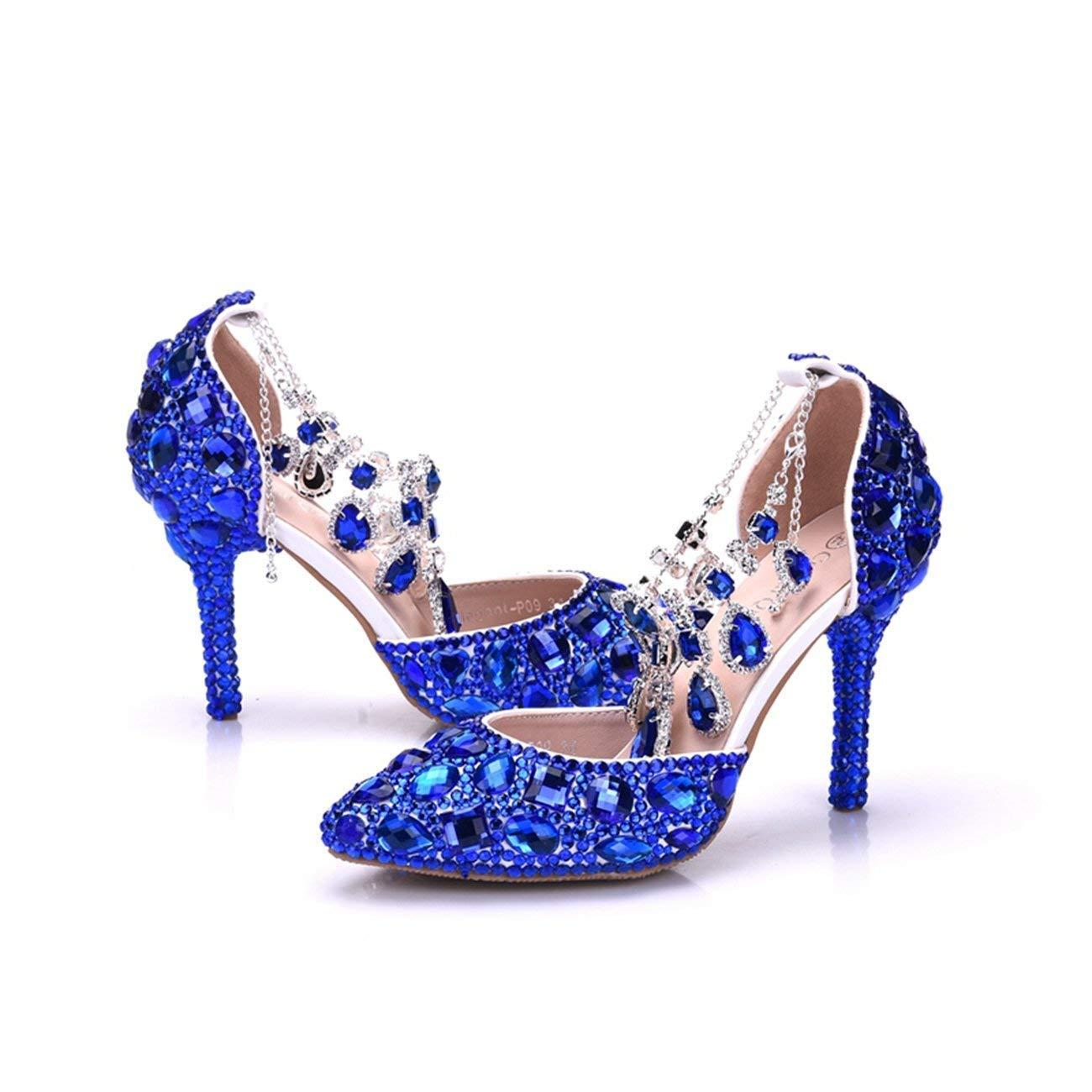 Qiusa Damen Damen Damen Strass Kristalle Perlen Knöchel Ketten blau Braut Hochzeit Schuhe UK 3 (Farbe   - Größe   -) a0e039