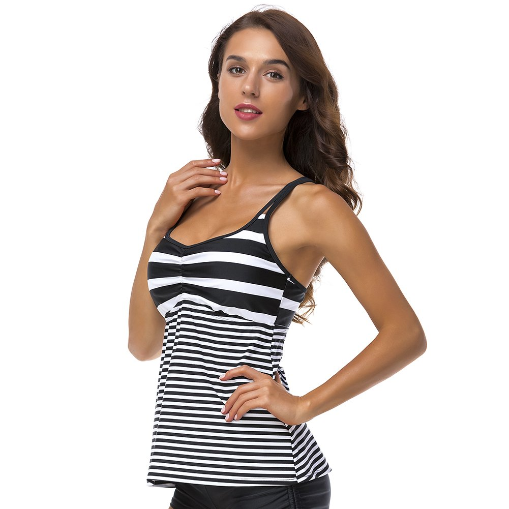 DUSISHIDAN Women Black & White Stripe Swim Top Tummy Control, XL by DUSISHIDAN (Image #3)