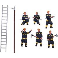 SM SunniMix 6X Pompiere Pompiere Dipinto Modello Persone Figure Ho per Layout O Diorama