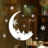 Christmas Decorations sale,Wall Stickers,Christmas Snow Moon Stickers Wallpaper for Bedroom by LuckUK