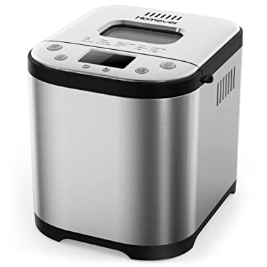 Homever Bread Maker [2019 Upgraded] - Automatic 2 Pound Bread Machine with SugarFree Setting, Fully Stainless Steel Bread Maker (15 Programs, 3 Sizes, 3 Colors, 15 Hours Delay Timer, 1 Hour Keep Warm)