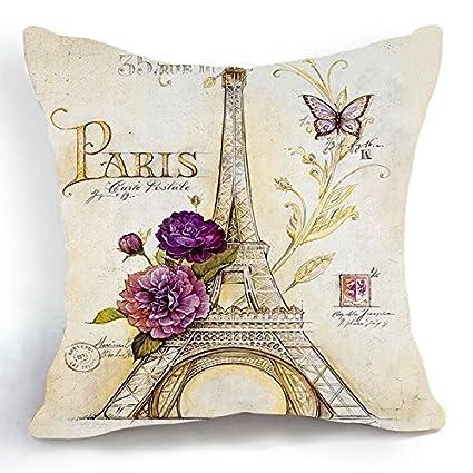 Acelive 16x16 Inches Cotton Linen Retro Vintage Sketch Eiffel Tower Purple Flower Home Throw Pillow Case