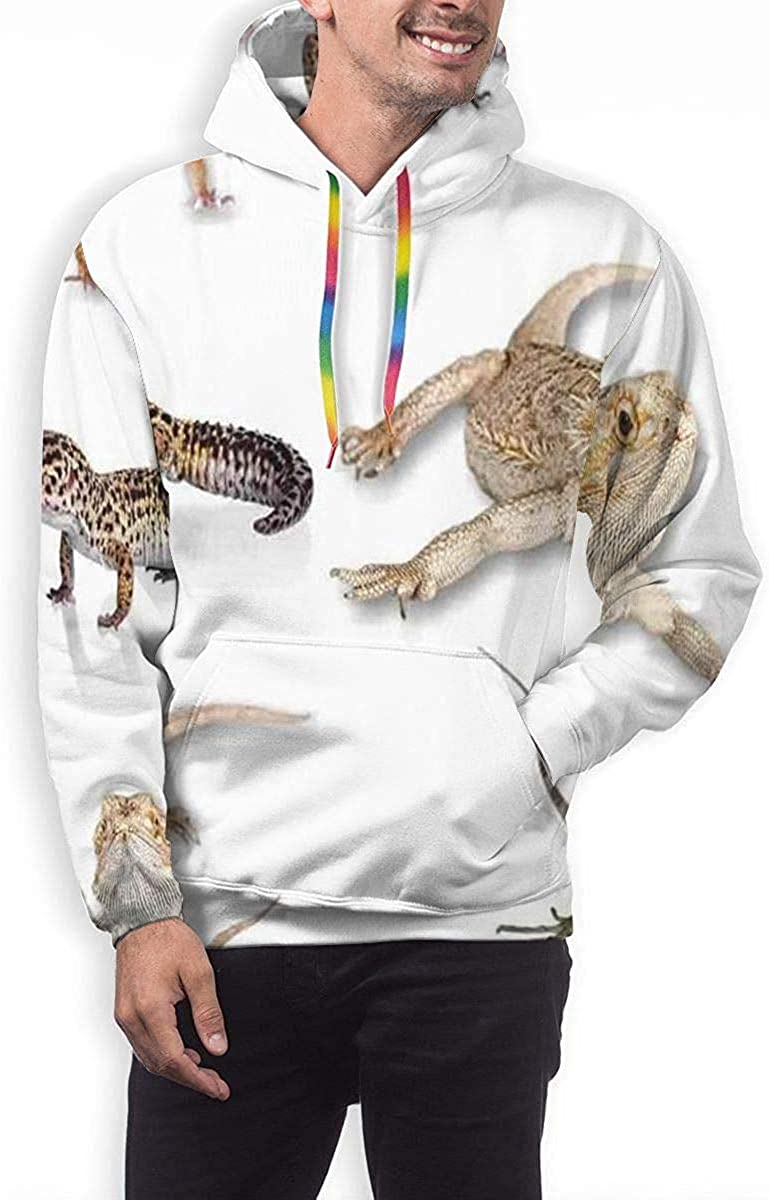 Mens Drawstring Hoodie Sweatshirts Fitted Sport Tops Multi Colored Staring Leopard Gecko Family M