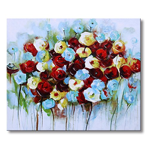 Sumeru Rose Paintings Canvas Wall Art Abstract Colorful Rose Artworks for Home Living Bedroom Office Decoration,1 Piece, 16x20 inch, Stretched and Framed
