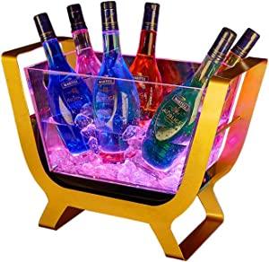 GWW Led Ice Bucket,Acrylic Clear Beverage Tub Large Capacity Champagne Wine Buckets-Multi-Color-a 48x22x36cm(19x9x14inch)