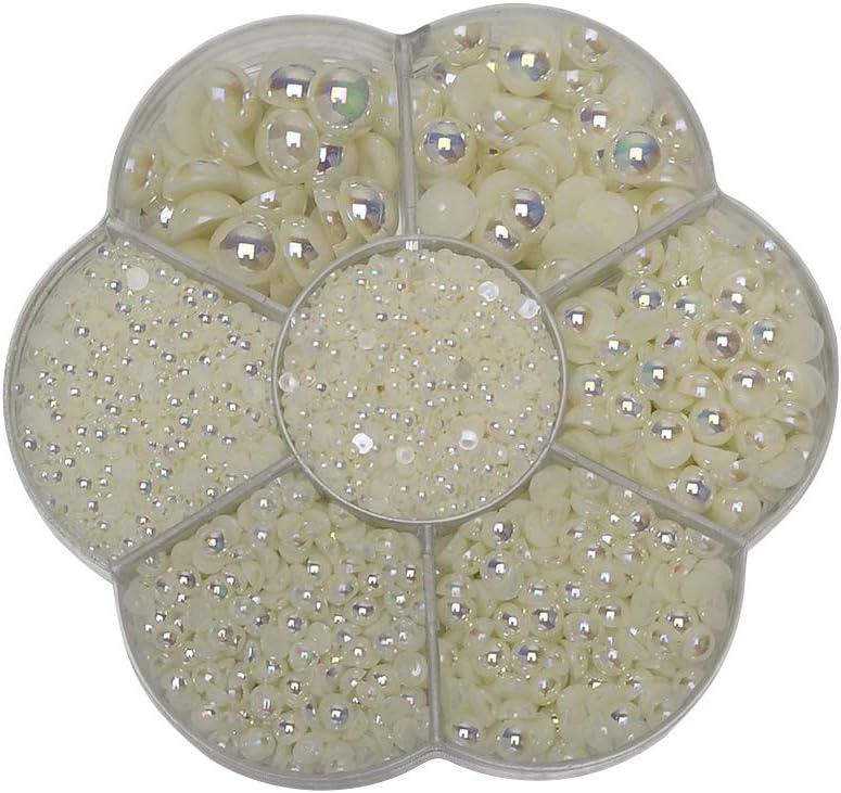 Black Half Ball Chenkou Craft 3000PCS 1 Box Black Round Flatback Half Pearls Bead Loose Beads Gem