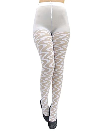 7efc28adb76 White Sheer Wave Pattern Hosiery Tights at Amazon Women s Clothing store   Leggings Pants
