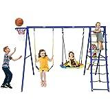 Trekassy 440lbs Swing Set with Heavy Duty A-Frame Metal Swing Stand, 1 Saucer Swing, 1 Belt Swing, 1 Climbing Net, 1 Climbing