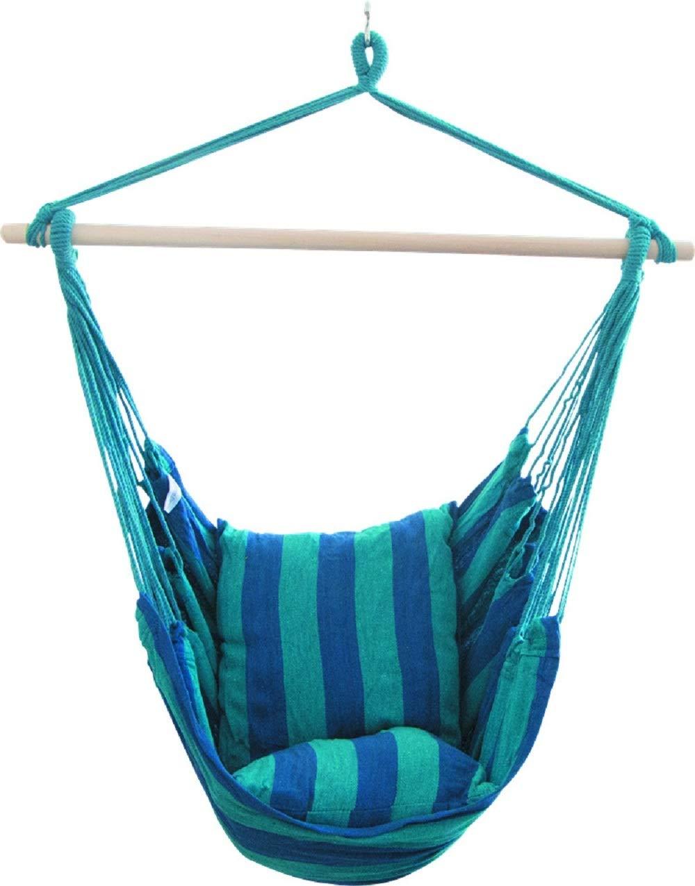 Hejiahuanle comfort a righe amaca, amaca corda altalena appesa set Garden Outdoor altalena sedia con seduta imbottita–max 150kg