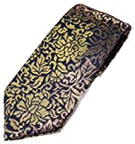 "Real Gold (Blue) Four Seasons Handmade Men's Japanese Kimono Pattern Luxury Brocade Necktie (3.3"" x 56"")"