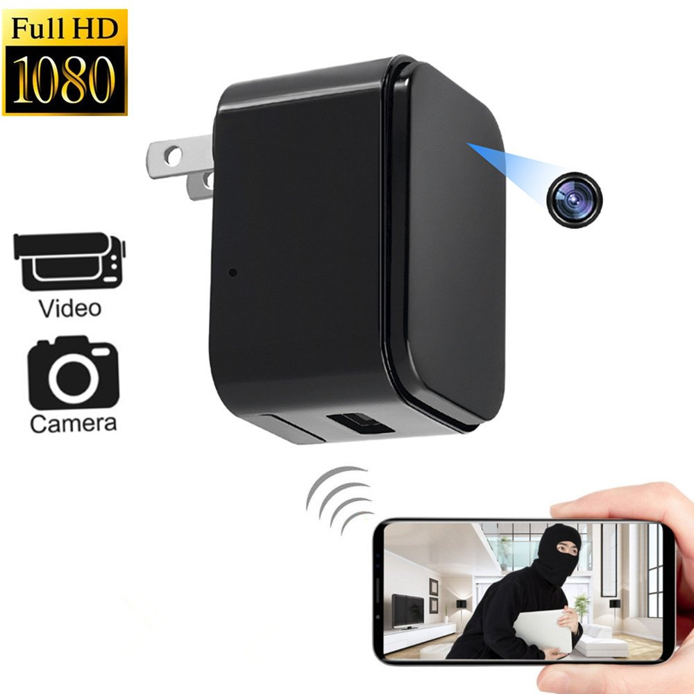 Hidden Camera 1080P WiFi HD Spy Cameras - Plug Wall Charger Video Recorder Wireless Real-time Remote See Live Nanny Cam