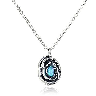 Retro Design Created White Opal Round Swirl Pendant 925 Sterling Silver Necklace, 18