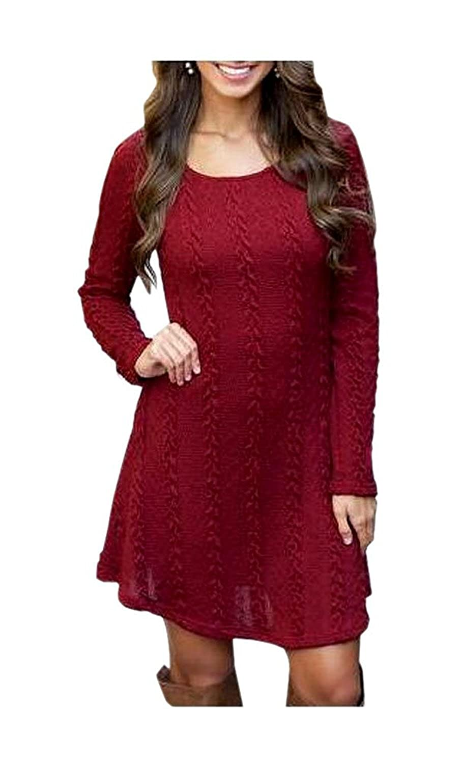 ARJOSA Women's Long Sleeve Crewneck Cable Knit Pullover Sweater Dress