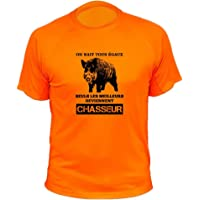 AtooDog Tee Shirt Chasse on Naît Tous égaux, Seuls Les Deviennent Chasseurs Sanglier