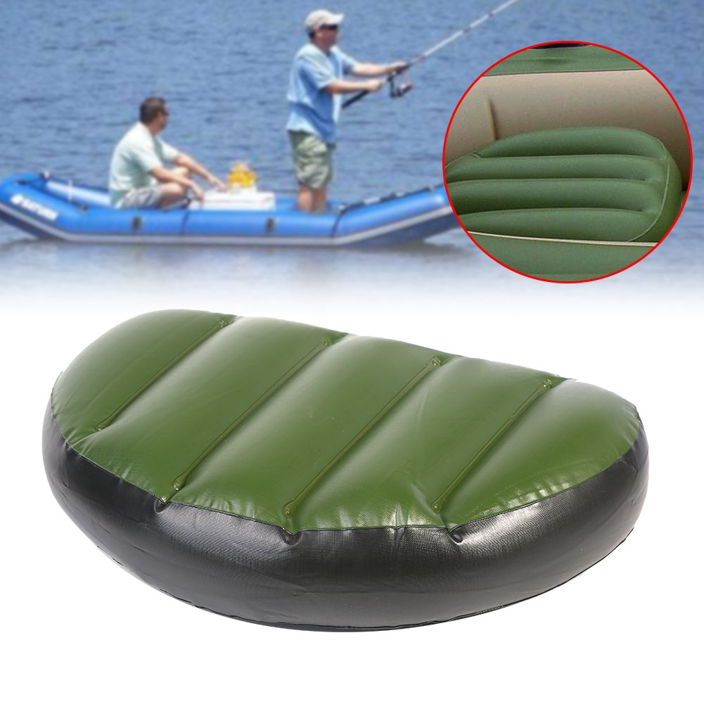 T-best Kayak Seat Pad, Kayak Canoe Boat Seat Cushion Comfortable Waterproof Fishing Green Air PVC Inflatable Seat Pad Cushion for Outdoor Camping