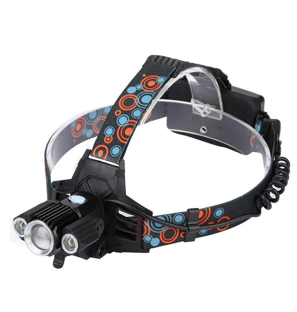 Rechargeable USB Headlamp,Crystell 50000LM 5x XM-L T6 LED Head Light Zoomable/Aluminum/Rechargeable Battery
