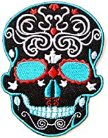 Black Skeleton Sugar Skull Day of the Dead Punk Rock Hippie Lady Rider Logo Biker Jacket T shirt Patch Sew Iron on Embroidered Badge Custom