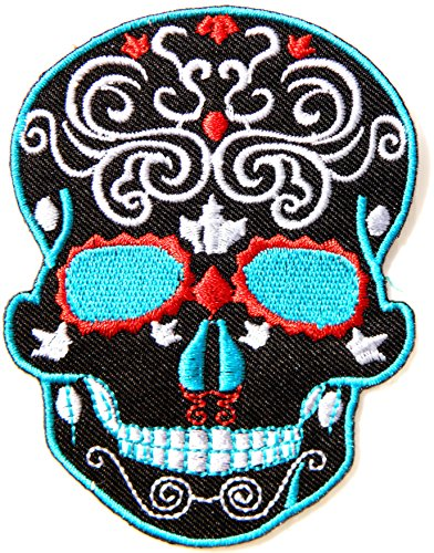 Costumes Baseball School Old Uniform (Black Skeleton Sugar Skull Day of the Dead Punk Rock Hippie Lady Rider Logo Biker Jacket T shirt Patch Sew Iron on Embroidered Badge)