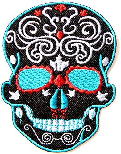 Baseball Costumes Uniform School Old (Black Skeleton Sugar Skull Day of the Dead Punk Rock Hippie Lady Rider Logo Biker Jacket T shirt Patch Sew Iron on Embroidered Badge)