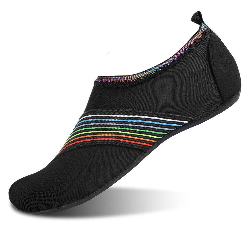 JIASUQI Womens Mens Quick Dry Aqua Water Shoes Socks for Pool Yoga Beach Swimming Bevel Black US 7.5-8.5 Women, 6.5-7.5 Men