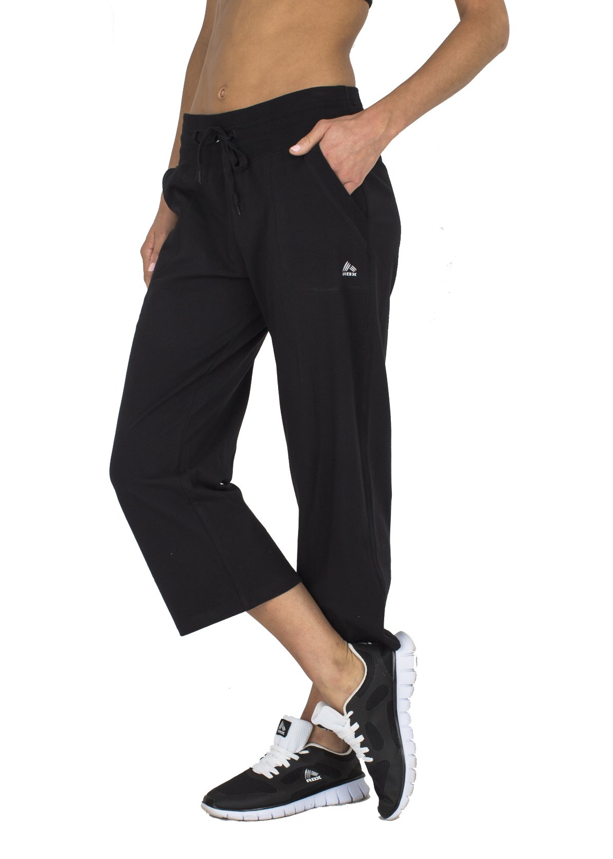 RBX Active Women's Relaxed Fit Cotton Capri Pant w/ Dual Pockets,Black,Small