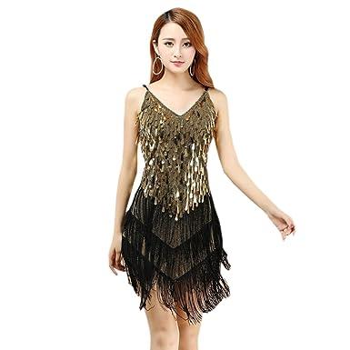 c80e95eefd BOZEVON Womens Sleeveless V Collar Latin Dress Fringed Sequins ...