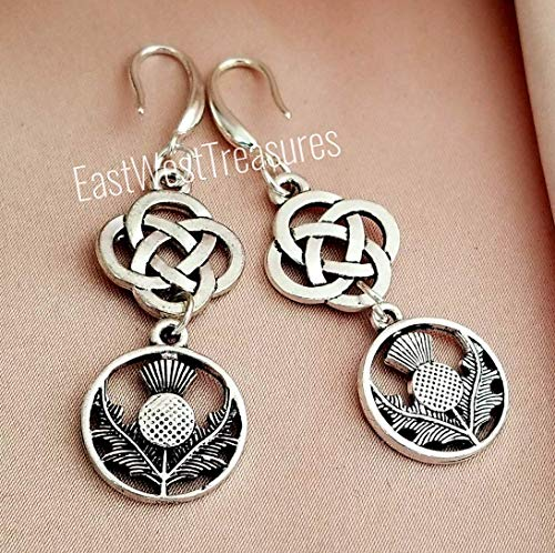 Thistle Jewellery Scottish (Scottish Irish Celtic Thistle earrings for women-Celtic Friendship knot earrings-925 silver)