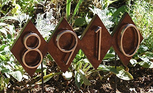 Mid Century Modern Dimond Lawn House Numbers Plaque. Solid Wood Address Lawn Sign. Genuine Mahogany with Yacht Gloss Finish. Modern House Numbers. by Mid Century Wood Shop