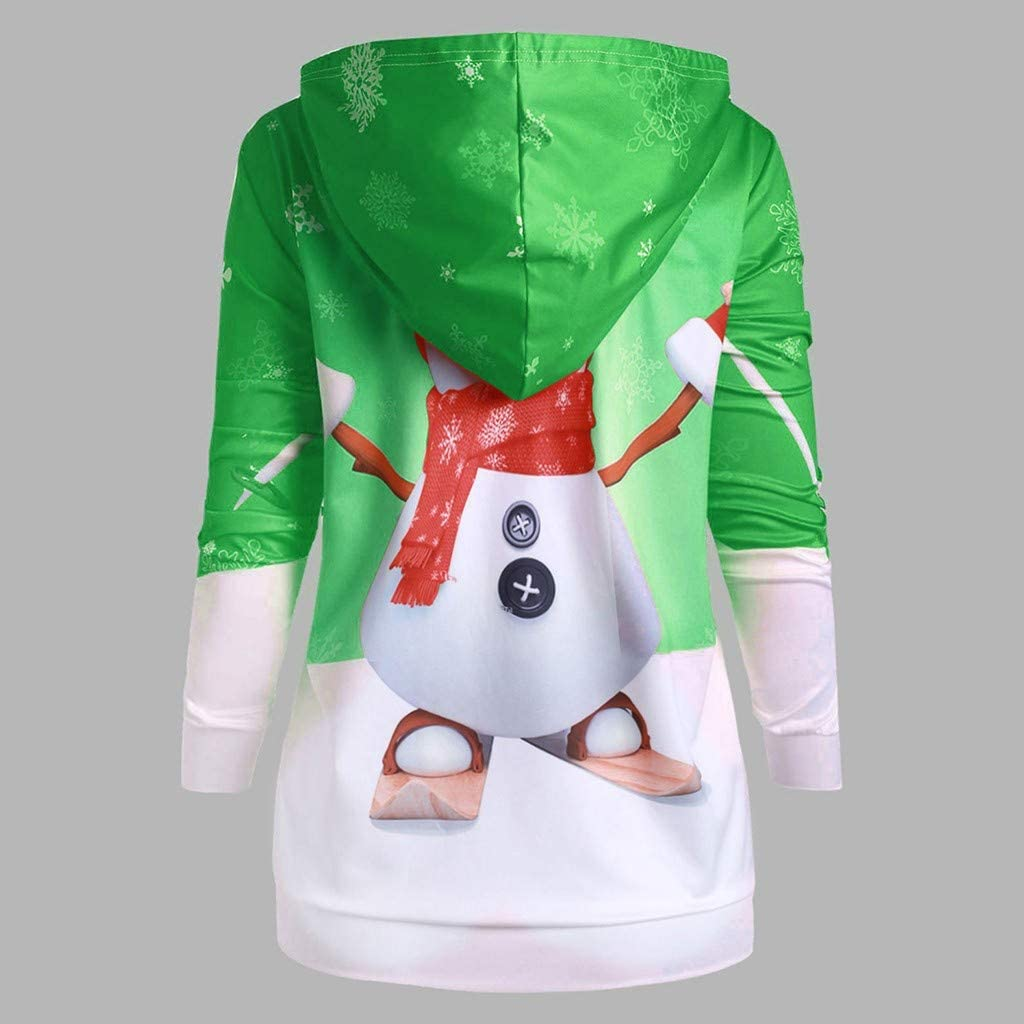 HDGTSA Womens Women Hoodie Christmas Print Sweatshirt Pullover Top with Big Pocket