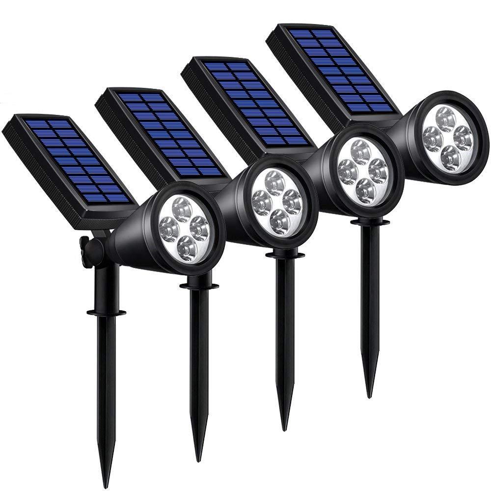 Solar Lights Outdoor, Lovin Product 2-in-1 Adjustable Solar Spotlight with 4 LED; Pir Sensor/ Auto On/Off sensor/ 2 Modes/ IP64 Waterproof/ Super Bright Wall / Landscape Lights (4 Pack)