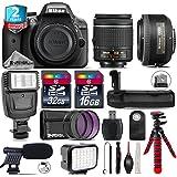 Holiday Saving Bundle for D3300 DSLR Camera + AF-S 35mm f/1.8G DX Lens + AF-P 18-55mm + Battery Grip + Shotgun Microphone + LED Kit + 2yr Extended Warranty + 32GB Class 10 - International Version