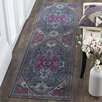 Safavieh Artisan Collection ATN332J Vintage Bohemian Oriental Grey and Fuchsia Distressed Runner (22 x 10)