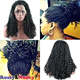 Rossy&Nancy Black Twist Braids Hair Wigs Curly Braided Lace Front Wig with Baby Hair Synthetic Heat Resistant Fiber Glueless Half Hand Tied for Women 16inch
