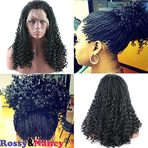 Lace French Full Wigs (Rossy&Nancy Black Twist Braids Hair Wigs Curly Braided Lace Front Wig with Baby Hair Synthetic Heat Resistant Fiber Glueless Half Hand Tied for Women 24inch)