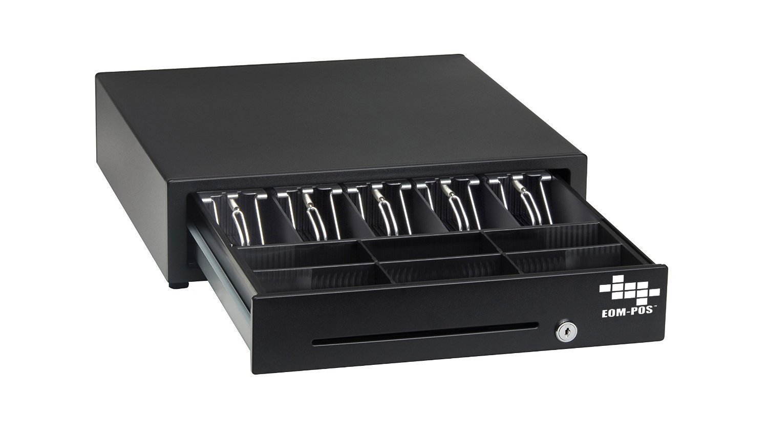 EOM-POS Heavy Duty Cash Register Money Drawer. Compatible with Square Stand [Receipt Printer Required]. Includes built in cable to connect to receipt printer.