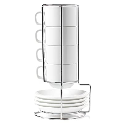 HUJI Stack-able Porcelain 4 Ounces Espresso Turkish Coffee Cups and Saucer