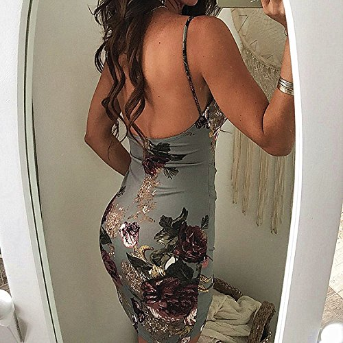 Split Neck Women's V GOODRACE Floral Gray Spaghetti Dress Strap Wrap Beach Casual xBS40OwqR