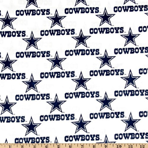 Fabric Traditions NFL Cotton Broadcloth Dallas Cowboys White Fabric by The Yard (Cowboys Dallas Fabric)