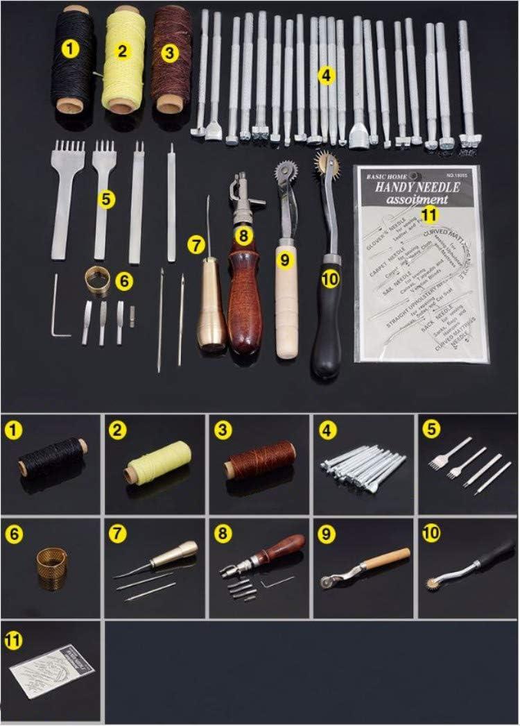 Beunyow 48 Piezas Kit de Herramientas de Coser de Cuero Artesanía de Costura Manual de Bricolaje con Ranurado, Punzón, Hilo Dedal, Aguja de Cuero Punzón de Perfomación Kit de Estampado de Hilo: