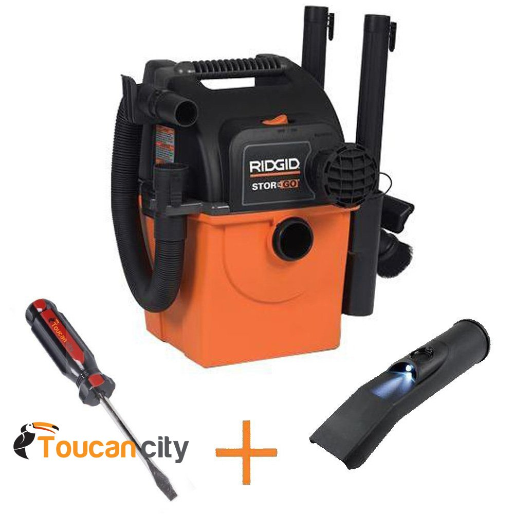 RIDGID WD5500A Stor-N-Go 5 gal. 5.0-Peak HP Wet Dry Vac Vacuum with Bonus LED Lighted Car Nozzle and Toucan City screwdriver by Toucan City