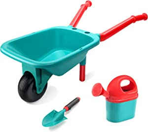 CUTE STONE Kids Gardening Tool Set, Garden Toys with Wheelbarrow, Watering Can and Shovel, Pretend Play Outdoor Indoor Toys, Gifts for Toddlers Boys and Girls